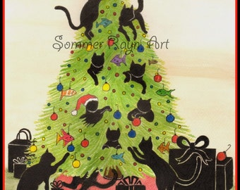 Kitties climbing in a Christmas Tree, having fun with ornaments,winter, holiday,  whimsical - Card or print,  Watercolor, Item #0099a