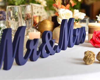 Navy Blue Mrs Mr  Wedding sign. Custom wooden wedding table decor signs Mr and Mrs. GIFT for wedding.