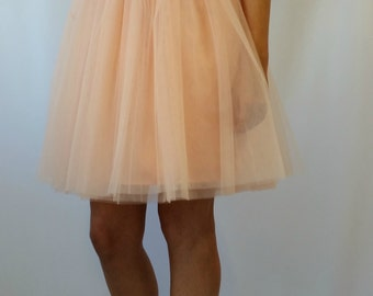 "Peach Women Tulle Skirt, Knee length Tutu Skirt, Princess Skirt,  Wedding Skirt - – ""Choose to be me' / EXPRESS SHIPPING / MD10017"