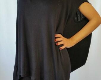 Oversized Tunic Top / Loose Women Maxi Casual Top / Asymmetric Cotton Tunic Dress / MD 10045