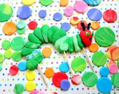 1 x FLAT Very Hungryl Caterpillar Inspired Fondant toppers,cake, caterpillar set, dots, smash cake