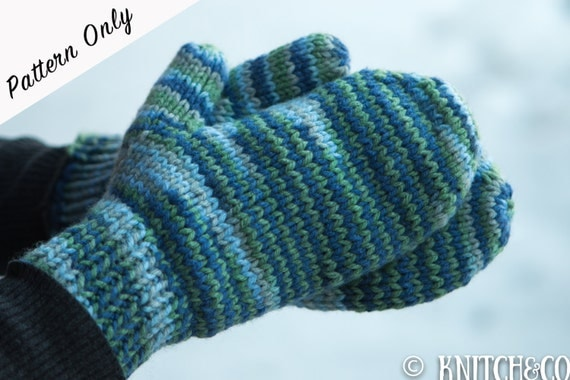 Free Knitting Patterns For Mittens In The Round : Knitted Mittens Pattern Chunky Mittens Pattern Easy Mittens