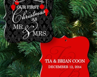 our first christmas ornament -two sided  personalized couple's first christmas as mr and mrs ornament FCMMO