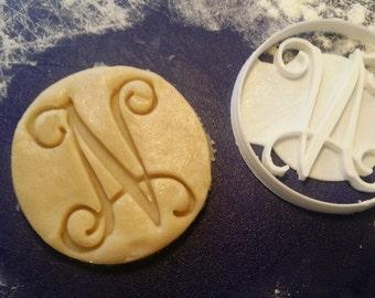 Custom Vine Monogram Single Letter Cookie Cutter personalized initials birthday wedding shower gift