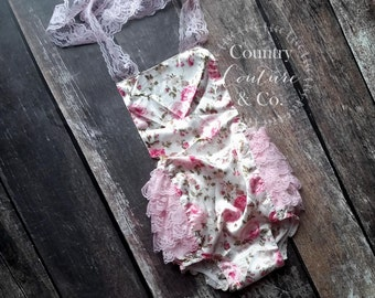 Floral Shabby Chic Lace Petti Romper-Floral Bubble Romper-Ruffle Romper-Lace Romper-Petti Romper-Vintage Romper-Baby Romper-Bubble Romper
