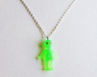 Glow in the Dark Alien Necklace