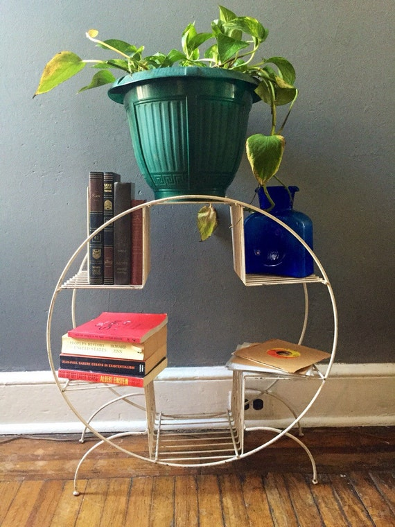 Vintage mid century modern plant stand , book case , magazine record ...