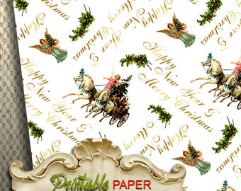 Happy New Year  -  Printable wrapping paper for Scrapbooking, Creat - Download and Print
