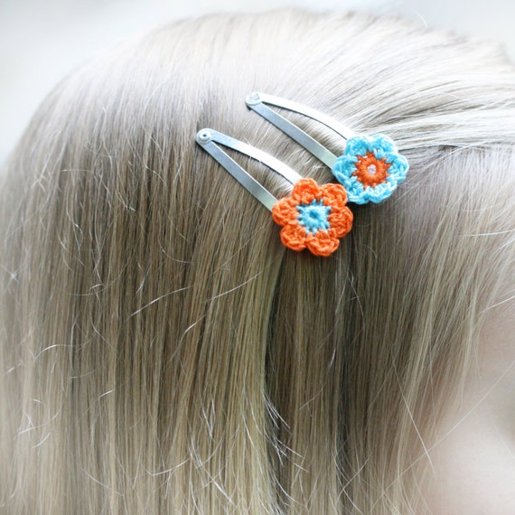Crochet hair clips. Daisy flower snap clips x 2. 6 colour options ...