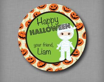 Mummy Personalized Halloween Treat Stickers Halloween Party Favor Labels Mummy Pumpkins