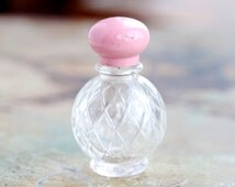 Vintage Avon Small Perfume Bottle with Pink lid - Vintage Perfume Bottle in Turquoise