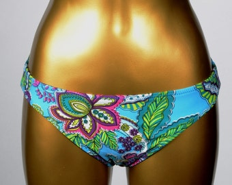 Low Cut Swimsuit Bikini Bottom - Bright Matte Aquamarine Blue with Psychedelic Floral Print Brief