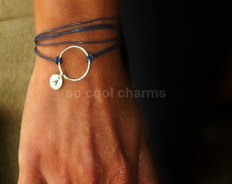 Silver Karma bracelet,  circle wrap bracelet, Good Karma silver bracelet, Personalized silver necklace, silver initial disc