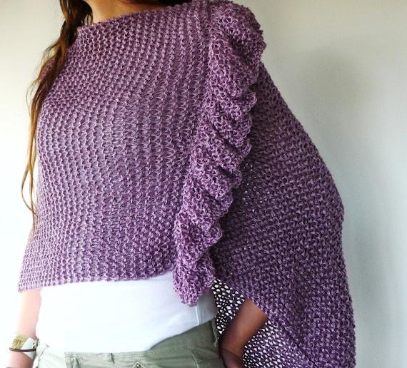 Poncho de verano lila. Ponchos tejidos a mano. Ropa de por KEENbyAM