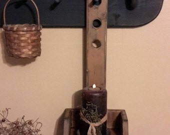 Primitive Shaker Style Peg Rack Candle Shelf