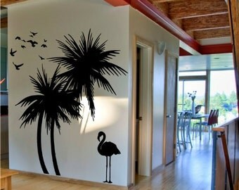 Elegant Palm Trees Wall Decal With Flamingo And Birds Wall Decal Deco Art Sticker  Mural Self Adhesive Idea