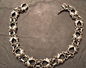 Vintage Georg Jensen Sterling Silver Designer Bracelet, Links, Signed, #46,  Wings, Denmark