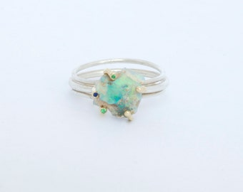 raw opal ring with 14k gold anemone setting