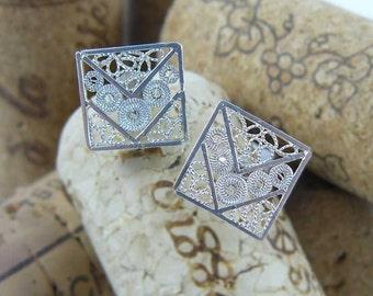 Intricate handmade silver filigree square stud earrings,  silver earrings
