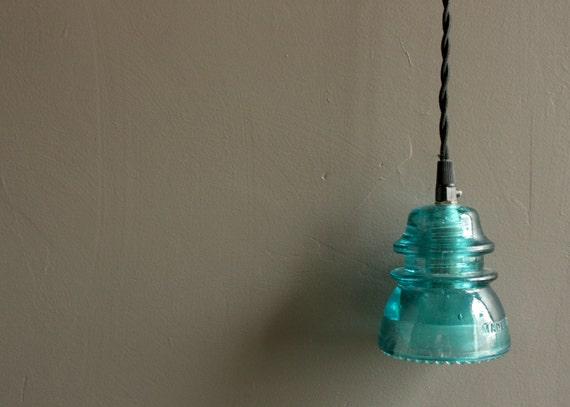 Vintage insulator light blue insulator by ourvintagebungalow for Antique insulator pendant lights