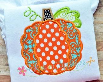 Scallop Pumpkin Digital Machine Embroidery Applique Design 4 Sizes, pumpkin applique, pumpkin embroidery, scallop pumpkin applique