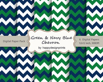 "Green Navy Blue Chevron Pattern Wallpaper Digital Paper Pack of 6, 300 dpi, 12""x12"" Instant Download Scrapbooking JPG"