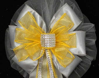 Yellow Bling Gray Wedding Pew Bows - Church Pew Decorations, Wedding Aisle Decorations, Wedding Ceremony Bow, Wedding Chair Bows