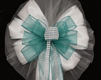 Teal Bling White Wedding Pew Bows - Church Pew Decorations, Wedding Aisle Decorations, Wedding Ceremony Bow, Wedding Chair Bows