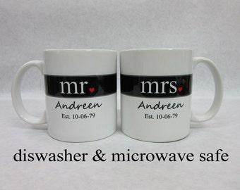 mr and mrs coffee mugs bridal shower gift unique wedding gift idea wedding