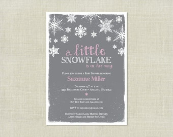 Little Snowflake Girl Pink Baby Shower Invitation / Snowflakes / Snow / Winter / Christmas / Blue Pink Grey / On her way / Printable invite