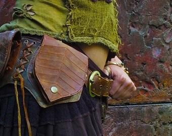 Leaf 4 Pockets Belt (Orange) - Fanny Pack Hip Bag Goa Bohemian Hippie Gypsy Festival Adjustable Psytrance Tribal Boho Utility