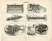 Antique Plows and Tractors Farm Equipment C. 1882 Antique Print Vintage Decor