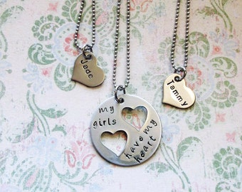 stainless steel  3 piece mother daugter necklace set hand stamped heart necklaces