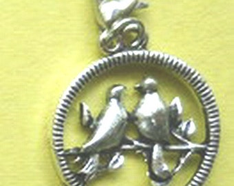 Dangle Love Birds Silver for Bracelets, Floating Charm Pendants, Necklaces & Key  D015