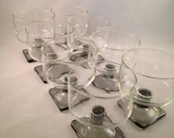 Vintage Federal Nordic Midnight Champagne, Dessert Glasses Set of 8