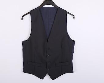 Black Blue Mens Vest Classic Striped Waistcoat Steampunk Gentlemen's Edwardian Victorian Medium Large