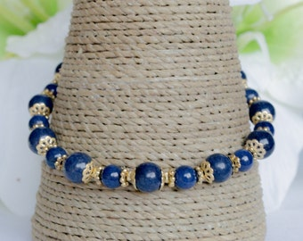 Lapis Lazuli and Antique Gold Tree of Life Bracelet