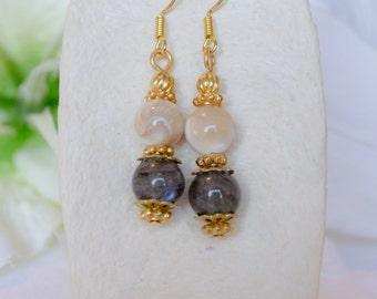 Labradorite, Mother of Pearl and Antique Gold Drop Earrings