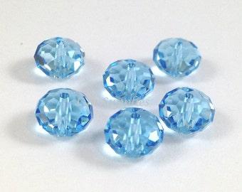 5040 AQUAMARINE 8mm Swarovski Crystal Donut Rondelle Spacers 6 pieces March Light Blue