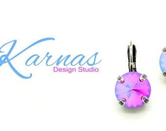 LIGHT SIAM GLACIER 10mm 47ss Crystal Drop Leverback Earrings Swarovski Elements *Pick Your Finish *Karnas Design Studio *Free Shipping*