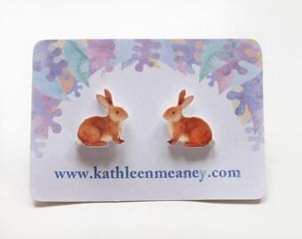 Bunny rabbit stud animal earrings