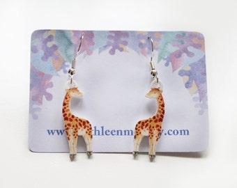 Giraffe drop animal earrings