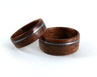 Wood Ring Set, Bubinga Wood Rings, Wood Anniversary Ring, Wood Wedding Ring, Wood Engagement Ring, Exotic Wooden Rings, Bentwood Rings