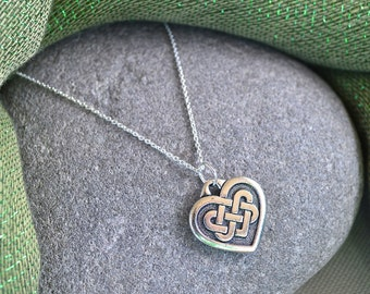 Irish Celtic Heart Necklace on Sterling Silver Filled Chain