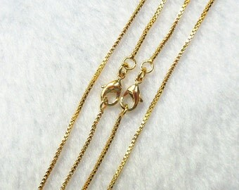 """18-24"""" Gold Plated Box Chains With Losbter Clasp -- Wholesale Bulk Sale Handmade Craft Supply Gold Plated Accessory Charm  DJ"""