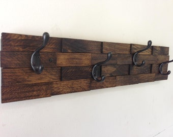 Rustic wood coat rack, entryway storage, wall coat rack, 4 hooks or 5 hooks, coat hanger, wall coat hook rack, towel rack, towel hooks