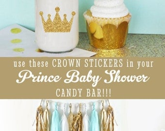 Royal Prince Baby Shower Cupcake Toppers DIY Crown Straws Stickers - Litte Prince Birthday Party Decor Stickers  (EB3080) set of 24 stickers