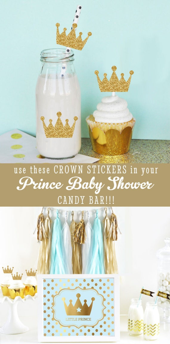 Royal prince baby shower cupcake toppers diy crown straws for A new little prince baby shower decoration kit