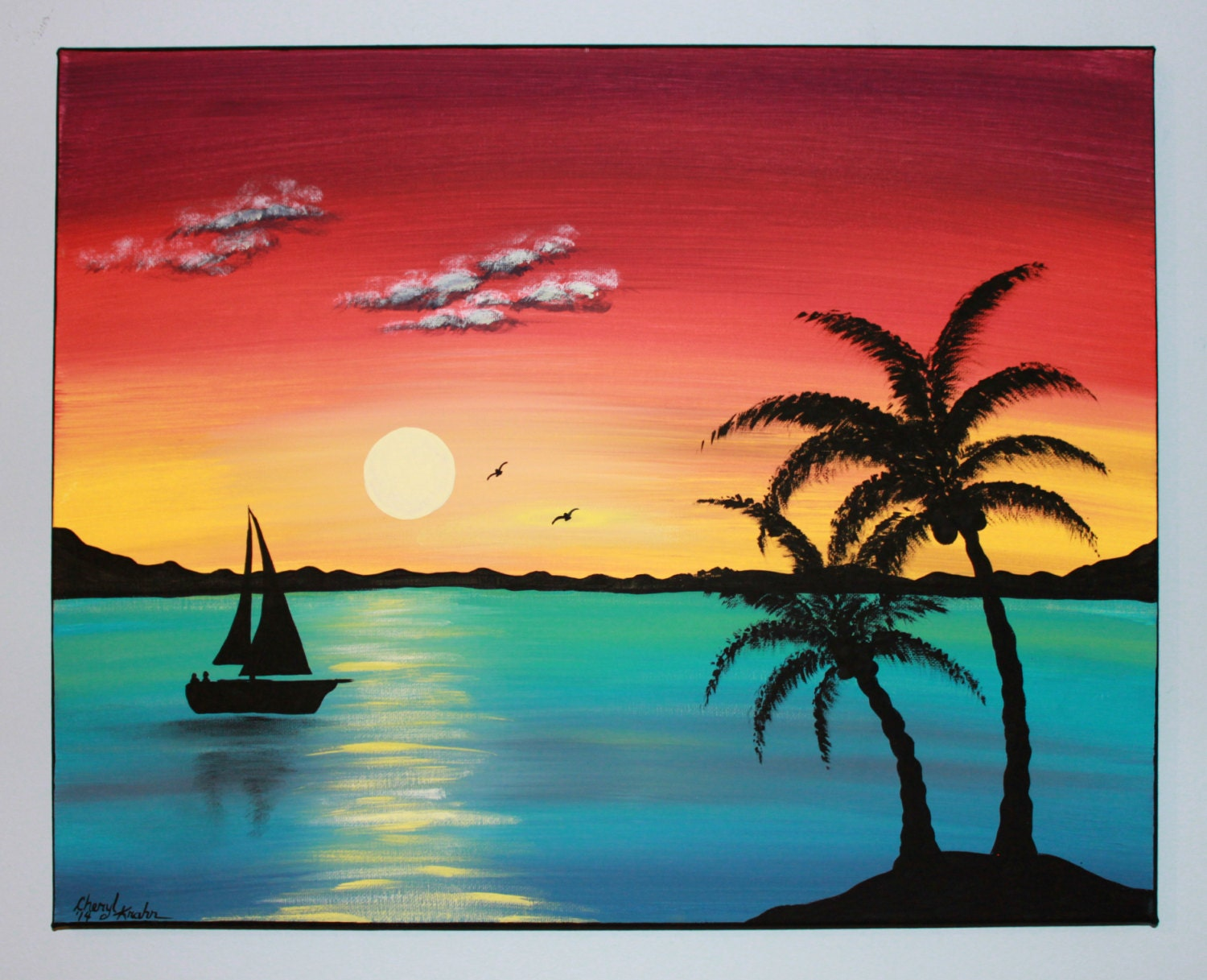 Original Acrylic Painting Canvas Paradise by ...