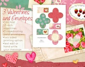 3 Tiny Valentine-Set2  printables 1.5 inch square folded with coordinating petal envelopes from original watercolor art